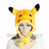 achat en gros de bonnet jaune à vendre-Gros-2015 Mode de vente Hot Belle animal de bande dessinée jaune chapeaux conception Pikachu mignon chapeaux Livraison gratuite