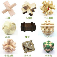 Wholesale lowest Wood lock educational toys KONG MING lock magic Puzzle toy Blocks Toy set of