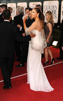 Wholesale 2011 golden globe award white chiffon spaghetti strap with crystal wrap celebrity dresses