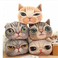 Cheap Wholesale-3D printed animal cat head pillow cushion decor plush throw pillow dog back cushion sofa pillow home store decoration
