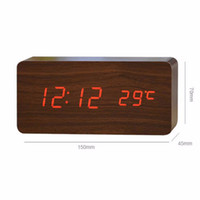 Cheap Wholesale-fashion silent clocks digital watch board, wooden bamboo frame clock home decoration vintage desktop clocks LED with three alarm