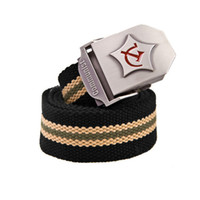 Wholesale Fashion Men Women Canvas belt male Metal Buckle designer belts Waist Strap Stripe Unisex Military Army Tactical Belt