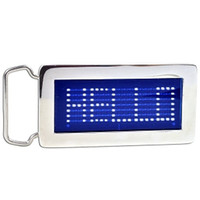 Wholesale Brand New Cool Personalized Programmable Chrome Scrolling LED Disco Belt Buckle Red amp Blue Drop shipping