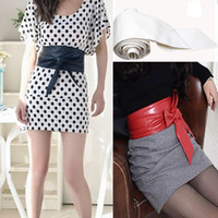 Wholesale New Fashion Lady Bowknot Bind Wide Belt Soft Leather Womens Waistband Waist Belt Long Circle Cummerbund For Female Colors
