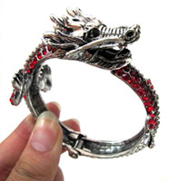 Wholesale New Design Antique Silver and Gold Metal Bracelet Full Crystal Unique Dragon Cuff Bangle AM034