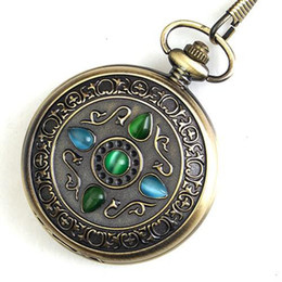 5pcs Antique Style Men's Pendant Fob Watch Bronze Copper Mechanical Pocket Watches Great Collection