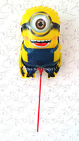 Wholesale hot sale Despicable Me Minions Cup amp Stick Mylar Balloons one Eyes Minions Party Decoration Cartoon Helium Balloons