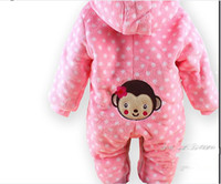 Cheap Wholesale-1PCS winter warm Baby romper baby One-Piece romper one-piece Hooded Cut monkey jumpsuit clothing Free Shipping LT005
