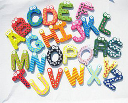 lovely Cute letter Cartoon Wooden Fridge Refrigerator Sticker Refrigerator Magnet Sticker 26pcs set