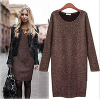 Cheap Wholesale-Fashion 2015 European & American Style Casual Winter Dress Polyester Solid O-Neck Thick Plus Women Clothes Dress Top003