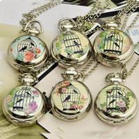 al por mayor de bolsillo antiguo reloj de plata-Venta por mayor-6 estilos antiguos bolsillo reloj collar mujeres Vestido reloj flor jaula reloj de plata niños cuarzo relojes hombres pájaro envío gratis