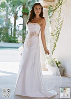 Wholesale Bridal Charmeuse Side Drape Gown with Sash Style WG3026 WEDDING DRESSES WEDDING DRESS