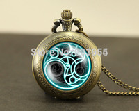 Wholesale Uk movie fashion Doctor Who Pocket Watches quartz Necklace Dr Who masters brass watch locket necklace Timelord Seal pedant