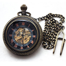 5pcs Gentlemen Mechanical Pocket Fob Watches Skeleton Case Half Hunter Mens Dress Chain Pendant