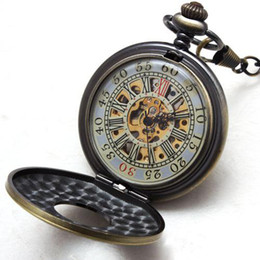 5pcs Luxury Compass Men Classic Skeleton Pocket Watches Roma Vintage Style Mechanical Chain Watch