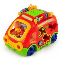 Wholesale intelligence Cartoon animal bus electric music multifunction baby toy car