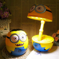 baby reading table - Cartoon Despicable Me Minions design children lovely studying reading desk lamp table working lamps folding height adjustment