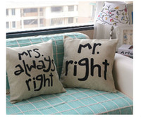 Wholesale Mr Right and Mrs Always Right Linen Car Home Accesorries Cushion Covers Pillow Cases Pillow cover PL13645