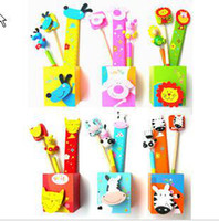 Wholesale CREATIVEBAR Children s Day Wooden Cartoon Animal Pencil Case Holder Set Assorted styles