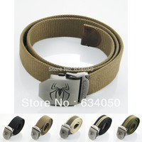 army webbing belt - Cool New Fashion Spider Spiderman Mens Womens Boys Stainless Steel Buckle Military Army Style Unisex Sports Webbing Canvas Belt
