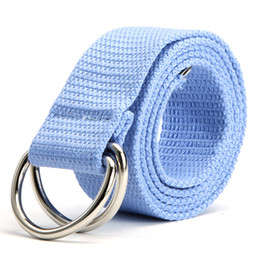Wholesale-New Double Rings Buckle Waist Belts Women Men Canvas Waistband Strap Belts