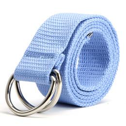 Wholesale-New Double Rings Buckle Waist Belts Women Men Canvas Waistband Strap Belts