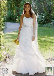 Wholesale 2011 David s Bridal Taffeta Fit and Flare Gown with Pick Ups and Sash Style WG3029