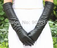 Wholesale Women Fashion cm Long Genuine Sheep Leather Coral Design Winter Elbow Opera Gloves