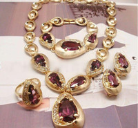 Fashion Jewelry Sets H009 Mosaic Purple Crystal Alloy jewelr...