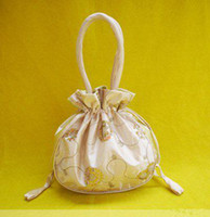 Wholesale Large Coin Purse Handbag Women Cheap Embroidered Silk Drawstring Money Bags mix color Free