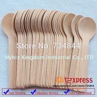 disposable spoon - Mini Wooden Disposable Desserts Round Spoons for Wedding Party Supplies