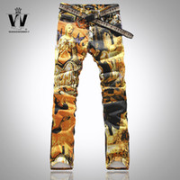 paintings mary - New Men Italy Fashion St Mary Colour Painted Print Jean W28 T001