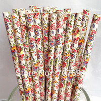 flower paper straws - New Color Drinking Straws Paper Straws Flower Print Straws Panton Flower Mix Colors Accept