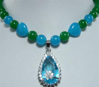 Wholesale 8MM Green Jade Beads Blue Crystal Pendant Necklace