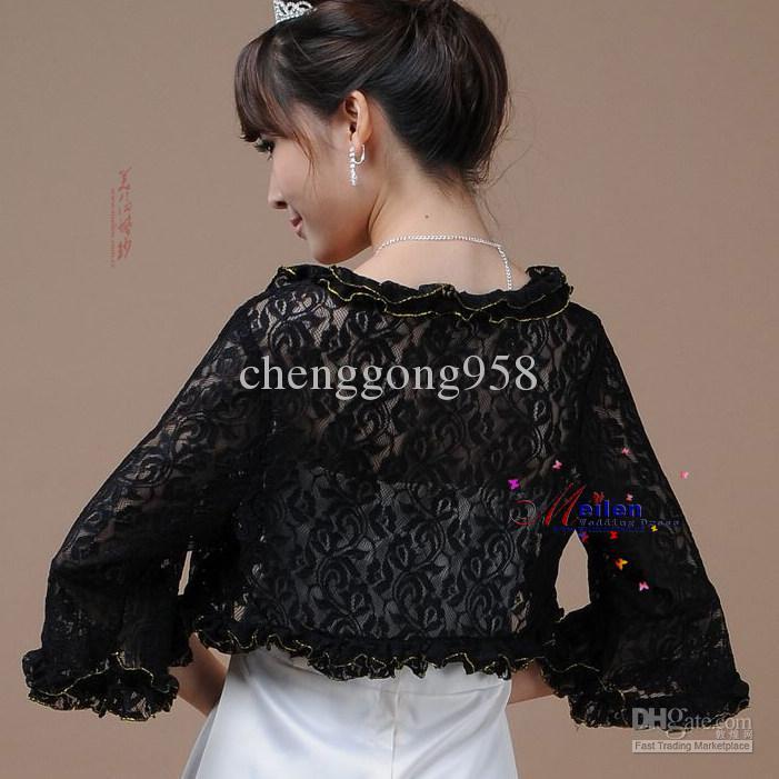 Black Lace Wedding Bridal Bolero/Shrug Jacket Cheap Bridal Veils