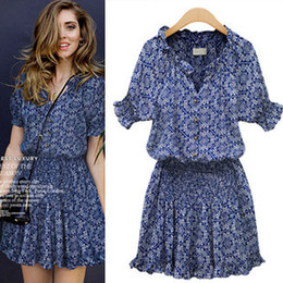 Wholesale-2015 New Arrival Summer Blue Cotton dress Europe and America Floral Slim Waist Printing vintage dresses