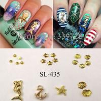 nail studs - Mixed new arrival nail art designs d alloy ocean series mermaid starfish shell nail art decoration metal nail art studs SL