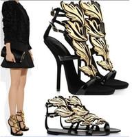 Wholesale Hot lady high heel sandals Designer golden leaf wedge pumps flame sandal shoes