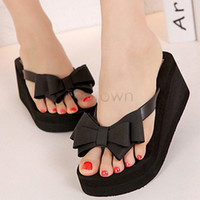 Cheap Wholesale-Good Nice New 2015 New Ladies Summer Fashion Women Platform Flip Flops Thong Wedge Beach Sandals Bowknot Shoes 34