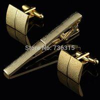 bar cufflinks - A20 Men Plating Metal Necktie Tie Bar Clasp Clip Cufflinks Set Gold Simple Gift IA933 P