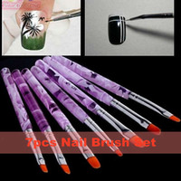 Cheap Wholesale-7pcs Flat UV Gel Acrylic Nail Brush Kit Art Builder Painting Pen Design Set