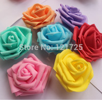 Cheap Wholesale-Free shipping 8 colors 7cm foam rose artificial flower head handmade DIY wedding home decoration artificial flower