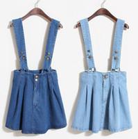bib brace jeans - women s summer denim jeans short skirt overalls bib overalls seperate adjustable strap braces skirt pleated