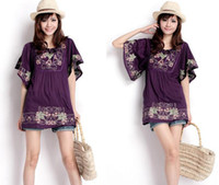 Wholesale Fashion Shirts Ethnic Customs Fine Embroidered Cotton Short sleeve shirt