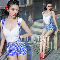 bib overall shorts womens - New Fashion Blue White Plaid High Waist Sexy Jumpsuit Rompers for Womens Bib Overall Suspender Shorts Pin up Girl Must have