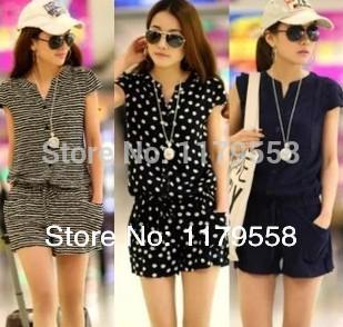Wholesale-2015 New Fashion Summer Women's Casual Short Sleeve V neck Elastic Waist Jumpsuits & Rompers Blue Striped & Dots