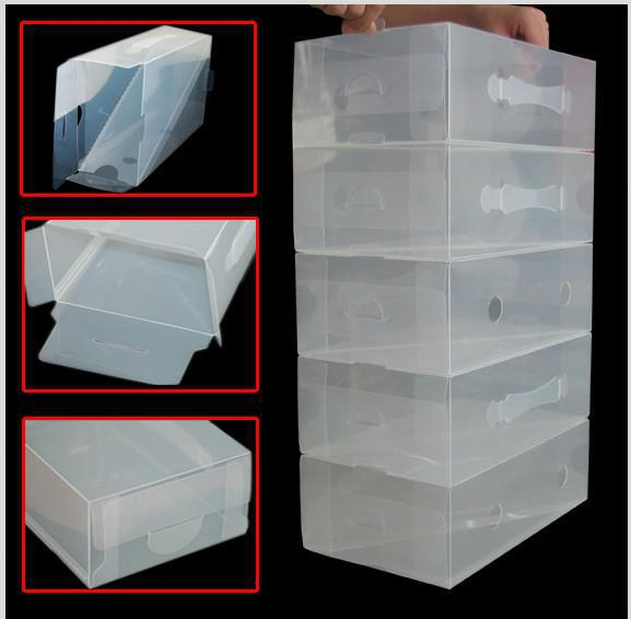 20 X CLEAR STACKABLE PLASTIC MEN SHOE STORAGE BOXES