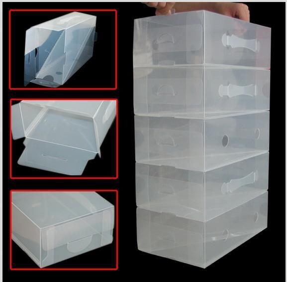 20 X CLEAR STACKABLE PLASTIC MEN SHOE STORAGE BOXES