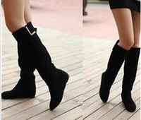 ladies leather boots - natural genuine leather flat winter warm fashion sexy women dress knee boots lady shoes R129 Hot sale size