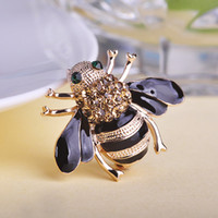 bee brooch pin - Stylish High Quality Bee Brooches Esmalte Enamel Broches Gold Ouro Hijab Pins Esmalte de Unhas Rhinestone Brooches In Game